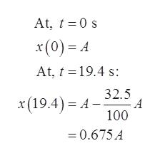 At, t0 s = A At, t 19.4 s 32.5 x(19.4) A 100 0.675A