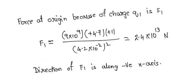 Force of oign becaue of chage 9, is F 13 2.4 K10 N Disuection of Fi is along -Ve x-axis.