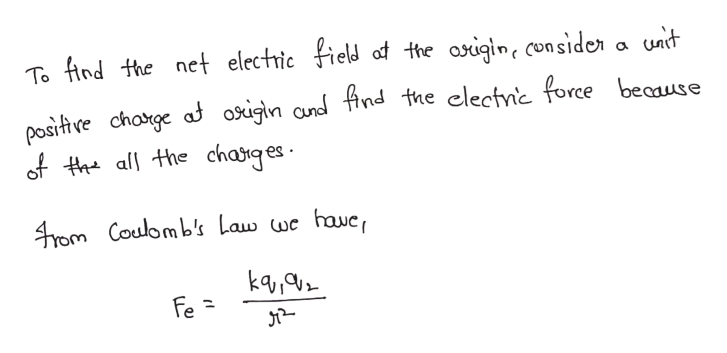 unit To find the net electric field af the aigin, con sider positve chotge af osigln and find the clectnic force beaause of tall the charges 4rom Coulomb's Law wc havc, ka Fe =