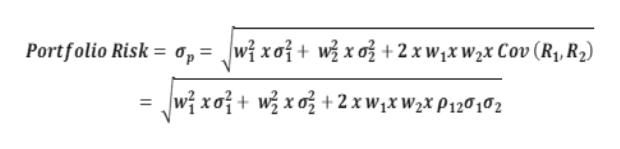 Portfolio Risk = a, = wixaj+ wjxoj+2 xwjxw2x Cov (R, R2) wixoj+ wzxa^+2xwjxW2x P120102