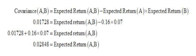 Covariance(A.B) = Expected Return (A,B) -Expected Return ( A ) x Expected Retun (B) 0.01728=Expected returm (A,B)-0.16x 0.07 0.01728+0.16x0.07 = Expected return ( A,B) 0.02848= Expected Return (A,B)