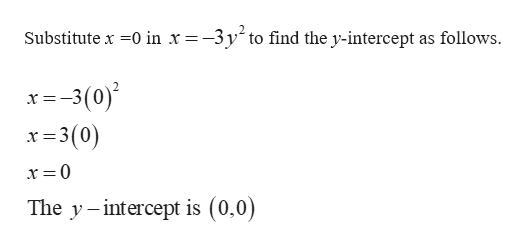 Substitute x 0 in x=-3y^ to find the y-intercept as follows --3(0) x=3(0) The y -intercept is (0.0)