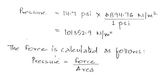 Pressure 14. psi x 6894.16 N/W2 pei o1362. Nw The Force is calkulabd Pressure as force Arca