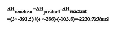 AH -AH Teactant reactionAH_ prodnct 3x-393 5)H(4x-286)-103.8)-2220.7kJ/mol