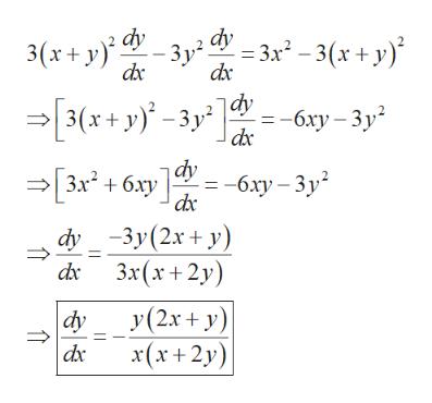 dy -Зу -3г - 3(х+ у) 3(x+ у). dx - 3(х+у) -Зу - бху — Зу dac 3 3x* + бху gy — бху — Зу dx dy -3у (2х + у) dx Зx(х+2у) У(2х + у) dy x(х+2у)
