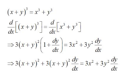 (x+y)x+y d d (x+y) dx dx dy 3(x+y1+ 3x3y2 dx dy 3(xy)3(r+y)3x2 +3y dc