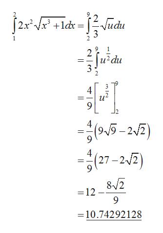 Vudu |2x2 Vx +1dx 3 2 и'du 3 2 4 95-22) 4 (27-22) 12 9 =10.74292128