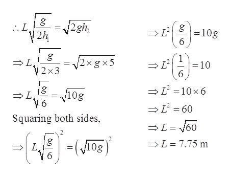 g . L V2h 2gh 10g 6 g L 2 x3 1 =10 2xg x5 C = 10 x6 V10g L 6 L =60 Squaring both sides, L=160 -K- L 7.75 m -(og L 6