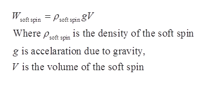 soft spin = Psoftspin V Where pon is the density of the soft spin g is accelaration due to gravity W spin V is the volume of the soft spin