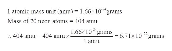 1 atomic mass unit (amu) = 1.66x10 grams Mass of 20 neon atoms = 404 amu 1.66x10 grams 6.71x10 grams -24 404 amu x . 404 amu = 1 amu