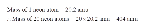 Mass of 1 neon atom = 20.2 amu .. Mass of 20 neon atoms = 20 x 20.2 amu = 404 amu