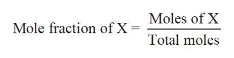Moles of X Mole fraction of X Total moles