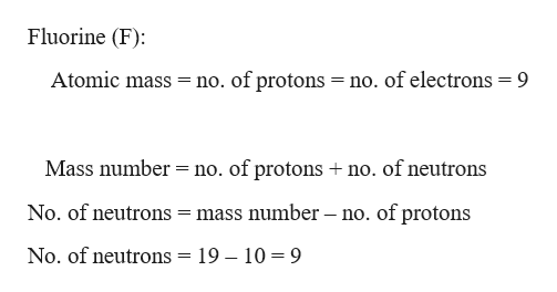 Fluorine (F) Atomic mass no. of protons = no. of electrons = 9 = Mass number no. of protons no. of neutrons No. of neutrons = mass number - no. of protons No. of neutrons = 19 - 10 9