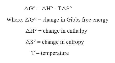 ΔGΔΗ-ΤASo Where, AGo change in Gibbs free energy AH change in enthalpy change in entropy ASo T temperature