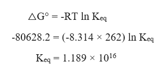 AG° = -RT In Keq -80628.2 (-8.314 x 262) In Keq Keq 1.189 x 1016