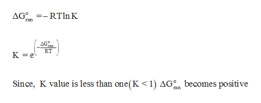 =- RT ln K AG0 AG° RT K e Since, K value is less than one(K < 1) AG becomes positive