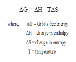 AG ΔΗ- TAS AG= Gibb's free energy where AH change in enthalpy AS= change in entropy T temperature