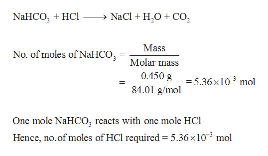 NaCl H20CO2 NaHCO HC Mass No. of moles of NaHCO Molar mass 0.450 g = 5.36x103 mol 84.01 g/mol One mole NaHCO; reacts with one mole HC Hence, no.of moles of HCl required = 5.36 x 103 mol