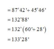-87'42 45 46' =132 88' =132' (60+28) =133'28'