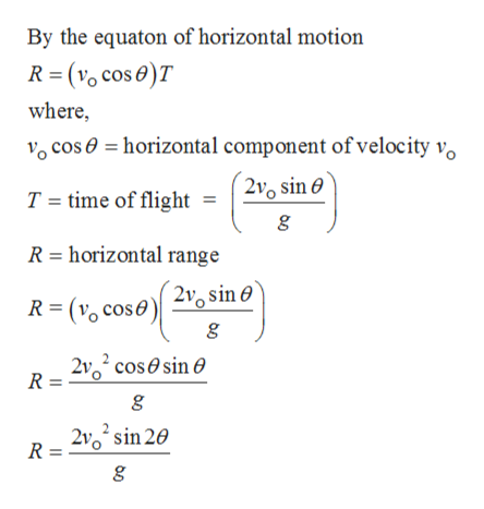 By the equaton of horizontal motion (vo cos e)T R where, cos horizontal component of velocity vo T = time of flight = 20 sine R horizontal range R( cose 2 sin 0' R = 2 cossin e R = 210 sin 20