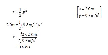 s = S 2.0m g =9.8m/s2 2.0m(98m/s) 2x 2.0m t= 9.8m/s 0.639s