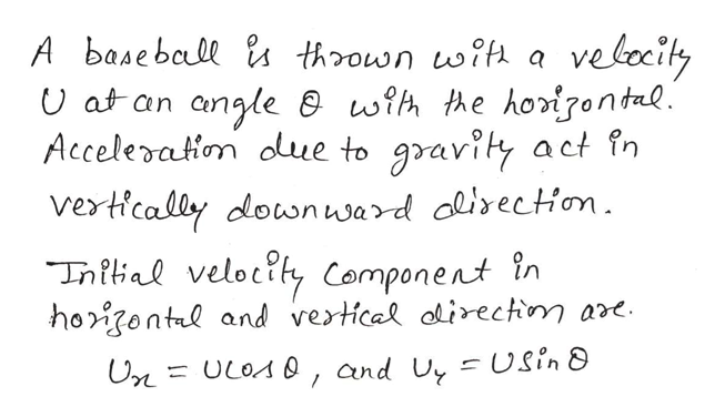 A baseball ls thown wit velcity angle wih the horigontal Acceleration due to gravity act fn vertically dlownward dlirection Tnitial velotity Component in hoontl and vertical irectn ar. U at an A0, and Uy -Usin 8