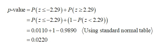 p-value P(-2.29)+P( 22.29) =P(s-2.29)+(1-P(<2.29)) (Using standard normal table) =0.0110 1-0.9890 =0.0220