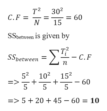 T2 302 C. F N = 60 15 SSbetween is given by ΣΕ-, SSbetween - C.F n 52 E> 5 102 152 - 60 5 => 52045 - 60 10