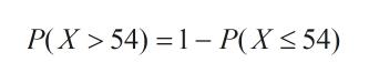 P(X 54) 1P(X 54)