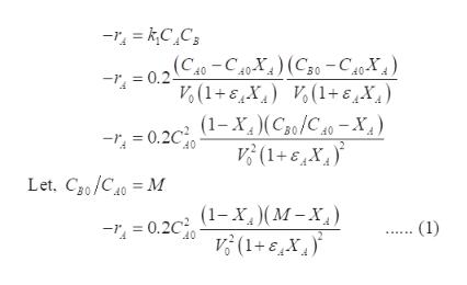 (C40-C40X) (C0-C40-X) 0.2 Vo(1+EX) (1+6X) (1-X,)(Cso/C40-X, V(1+6X 0.2 40 Let, Cg0/C0M (1-X) (M-X V(1+EX 0.2 (1) 40