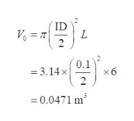 ID 0.1 =3.14x 2 x6 0.0471 m