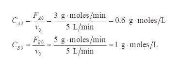 3 g moles/min 5 L/min F40 CA0 g moles/L = 0.6 5 g-moles/min 5 L/min F30 C50 -moles/L