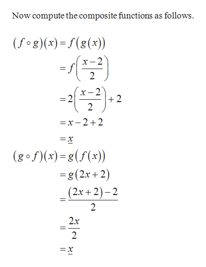 Now compute the composite functions as follows (fog)(x)=f(g(x)) 2 f 2 2 +2 2 Y- -2 =x-2 +2 = x (gofx)-g(f(x) -g (2x+ 2) (2x+2)-2 2 2x 2 =x