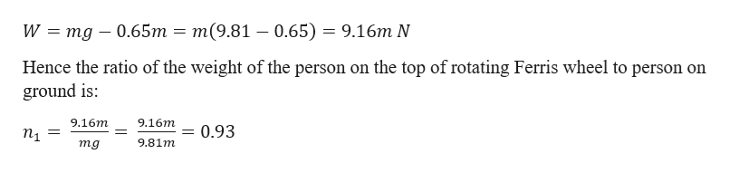 т(9.81 — 0.65) — 9.16т N W mg 0.65m Hence the ratio of the weight of the person on the top of rotating Ferris wheel to person on ground is 9.16m 9.16т 0.93 п 3 9.81m тg