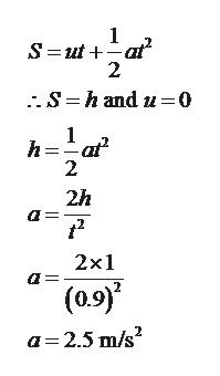 1 S ut at 2 S hand u-0 1 h 2 2h 2x1 (0.9) a 2.5 m/s2