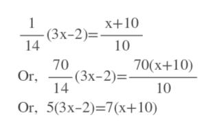 1 (3х-2)%3. 14 х+10 10 -(Зх-2)— 70(х+10) Or 14 70 10 Or, 5(3x-2)-7(х+10)