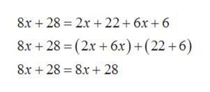 8x 28 2x 22 +6x +6 8x +28 (2x +6x)+(22 +6) 8.x 28 8.x 28