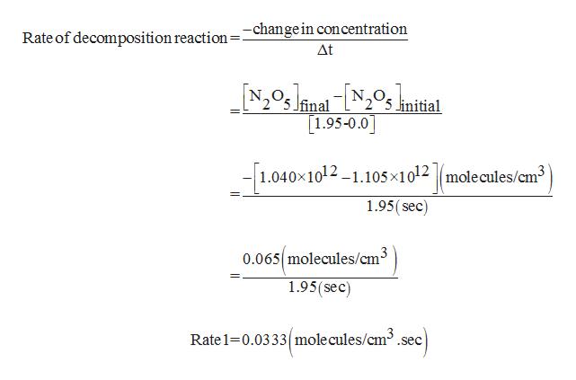 Rate of decomposition reaction =-changein concentration Δt Ifinal linitial 1.95-0.0 1.040x1012-1.105x1012 |molecules/cm3 1.95(sec) 0.065 molecules/cm3 1.95(sec) Rate 1 0.0333 mole cules/cm3.sec