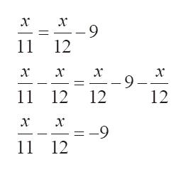 x -9 11 12 x x x x -9 12 12 11 12 x --9 11 12