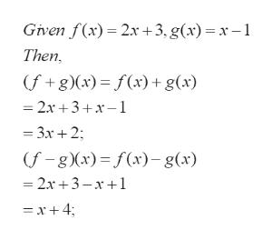 Given f(x) 2x+3, g(x) = x-1 Then (f+g (x)= f(x) + g(x) =2x 3+x-1 3x2 (f-g x) f(x)g(x) 2x 3-x1 =x+4