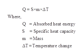 Q SxmxAT Where Q Absorbed heat energy S Specific heat capacity mMass AT Temperature change