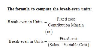 The formula to compute the break-even units: Fixed cost Break-even in Units =Contribution Margin (or) Fixed cost Break-even in Units= Sales -Varable Cost)