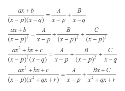 В ax +b A (х — р)(х — q) х-р х-д В C ax +b A (x-p x-p (x-p) axbxc (x-p (x-) x-p (x-p) x-q (x-p В C A axbxc Bx+C A (x-p(xqx+r) x + qx +r х — р