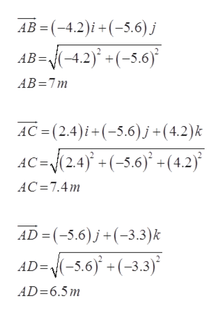 AB = (-4.2)i+(5.6) j AB=-4.2) +(-5.6) AB 7m AC (2.4)i+(5.6)j+(4.2)k AC=(2.4)+(-5.6)(4.2) AC 7.4m AD= (-5.6)j+(-3.3) k AD=(-5.6)+(-3.3) AD=6.5m