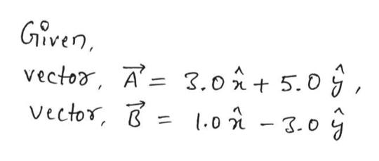 Given vector, A=3.o5.0 Vector, l.0i - 3.0 j 1