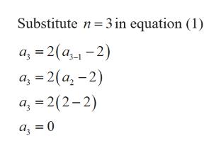 Substitute n3 in equation (1) a 2(a-2) а, 3D2 (а, - 2) a 2(2-2)