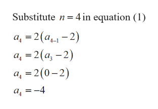 Substitute n 4 in equation (1) a 2 (a-2) a, 2(a-2) a, 2 (0-2) a-4