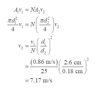 Av NA,v па πας = N 4 12 4 12 (0.86 m/s)2.6 cm 0.18 cm 25 =7.17 m/s