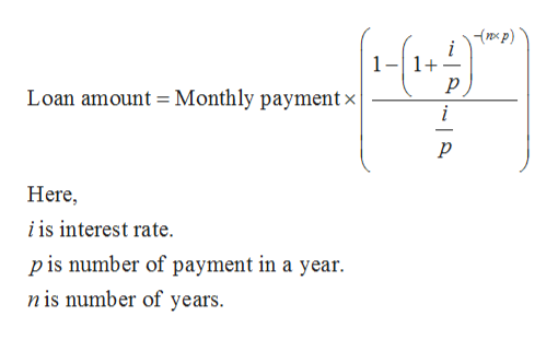 mxp) 1 1+ Loan amount Monthly paymentx р Here i is interest rate p is number of payment in a year n is number of years