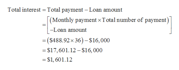 Total interest Total payment - Loan amount (Monthly payment x T otal number of payment) -Loan amount =($488.92x 36) $16,000 $17,601.12-$16,000 $1, 601.12